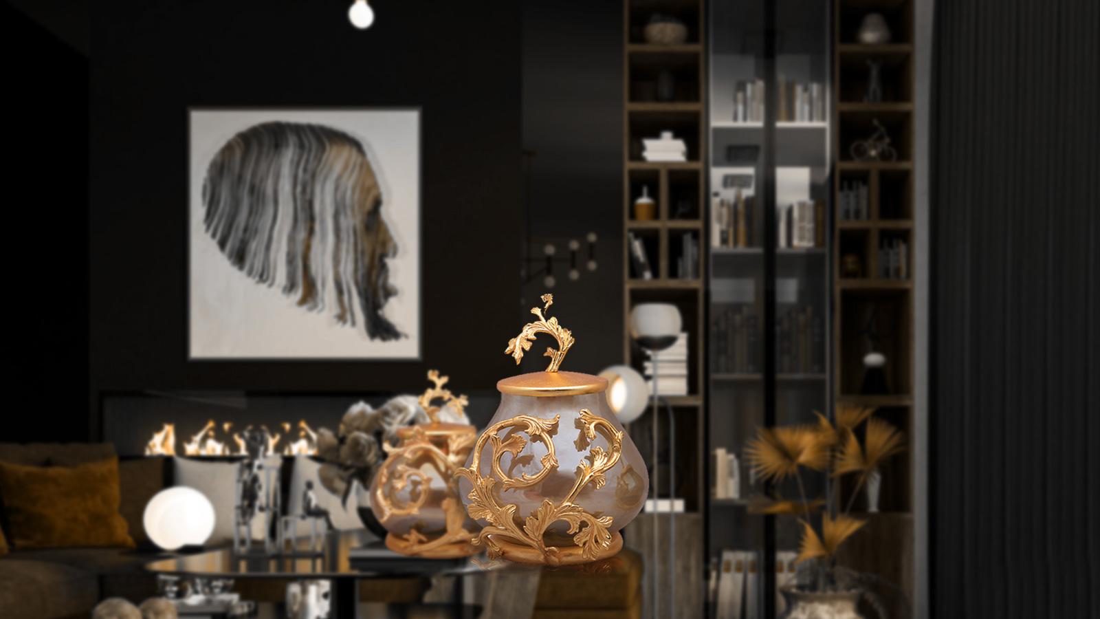 glass decorative objects, brass decorative objects, luxury pieces, gold decorative objects